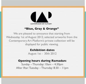 Contemporary Art Platform: Blue, Gray and Orange