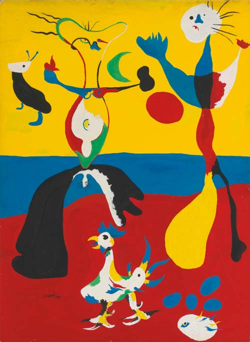 Joan Miró(1893 - 1983), LE FERMIER ET SON ÉPOUSE, gouache on card 58 by 42.5cm. 22 7/8 by 16 3/4 in. Executed in 1936.