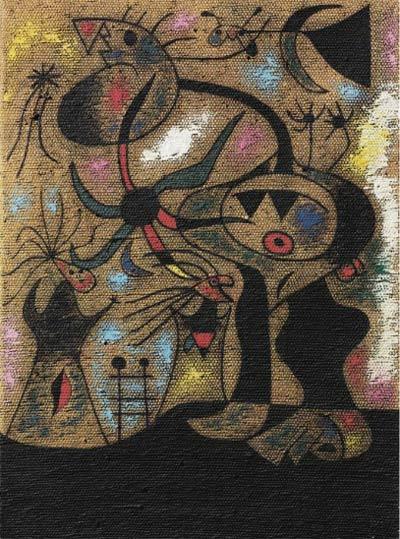 Joan Miró (1893-1983)L'échelle de l'évasion, oil on burlap,73.5 x 54.3 cm,1939