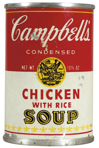 Lot  N5. Estimate: $50,000 - $70,000. Andy Warhol (1928-1987) Campbell's Chicken with Rice Soup aluminum can with paper decal, from an unrealized edition of thirteen, 10.2 x 6.9 cm, Executed circa 1964
