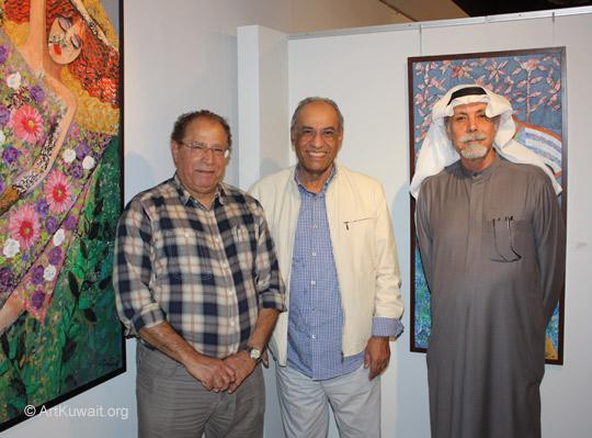 Kuwaiti artists: Fadhel Al Abbar (L), Mahmoud Ashkanani, Hameed Khazaal(R)