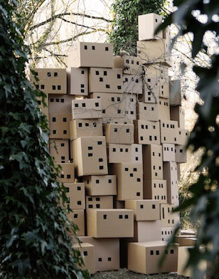 "Bashir Makhoul, ""Giardino Occupato,"" 2013. Detail in-situ, Corrugated cardboard, Size variable."