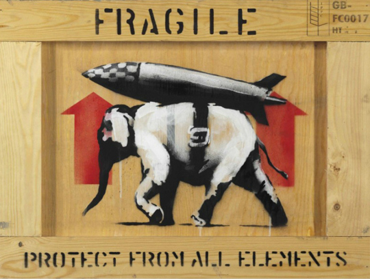 Banksy, Protect from All Elements, acrylic and spray enamel, 44.1 x 58.4 cm, 2013, Estimate: $70,000-100,000