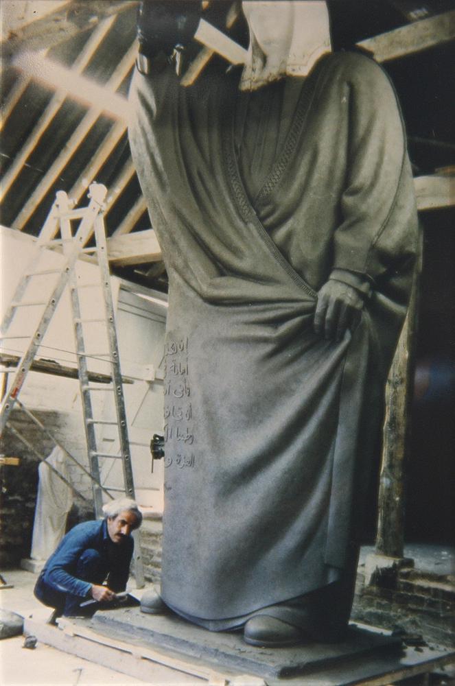 Sami Mohammad working on the statue of Sheikh Sabah Al Salem Al Sabah