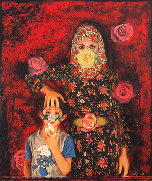 Shurooq Amin This Way Up - Painting the Roses Red 2013 Mixed media on canvas 120 x 100 cm